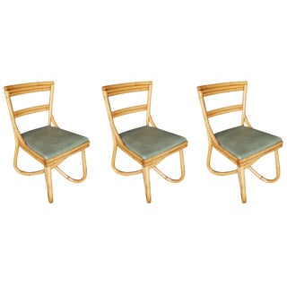 Mid-Century Loop Leg Rattan Dining Side Chair, Set of Three For Sale
