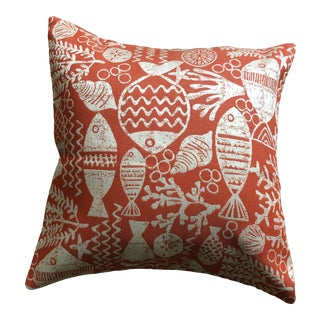 Orange Coral Fish Pillow Cover For Sale