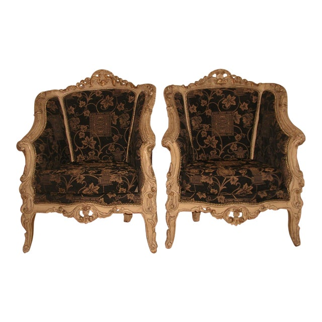 18th Century Art Nouveau Hand-Carved Arm Chairs - a Pair For Sale