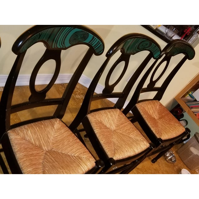 1970s Mid Century Faux Malachite Dining Set 5 Piece Set 1 Table 4 Chairs 2 Leaves All Matching! For Sale - Image 11 of 13
