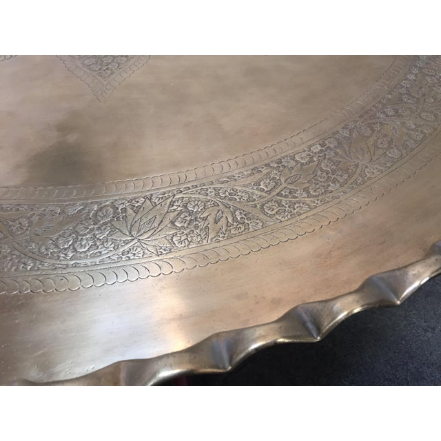 Large Mid-Century Round Brass Tray Table on Folding Stand For Sale - Image 9 of 12