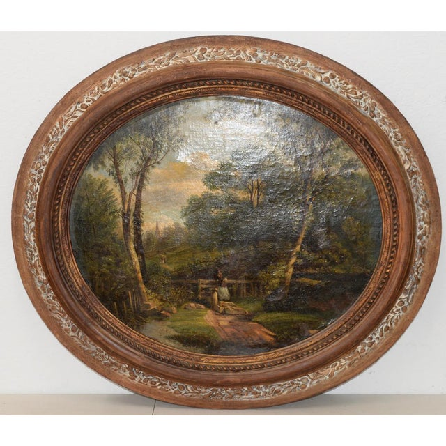 Wonderful 18th to 19th Century Country Landscape w/ Figures & a Distant Steeple The painting shows a young woman entering...