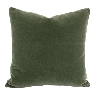 F. Schumacher San Carlo Mohair Velvet in Moss Pillow Cover For Sale