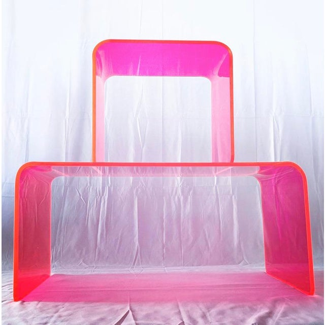 """Acrylic """"The Long Game"""" Coffee Table in Neon Pink For Sale - Image 7 of 9"""