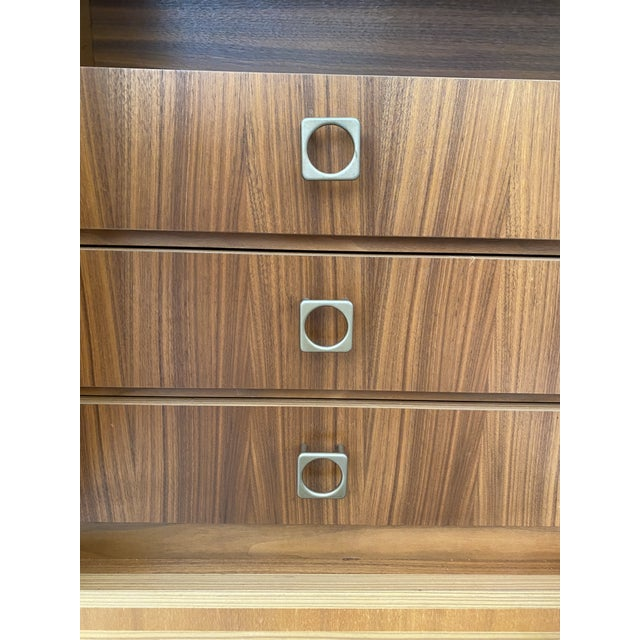 1970s West Germany MCM Mid Century Modern Wood Wall Unit Bar Cabinet For Sale In Chicago - Image 6 of 13
