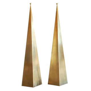 "Contemporary ""Pyramide"" Brass Floor Lamps - a Pair For Sale"