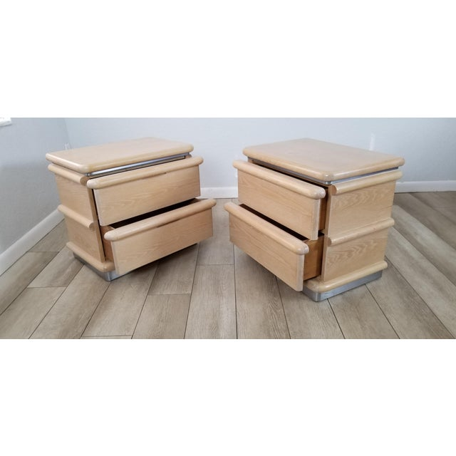 Metal Postmodern Blonde Oak Nightstands by Jay Spectre - Pair. For Sale - Image 7 of 13