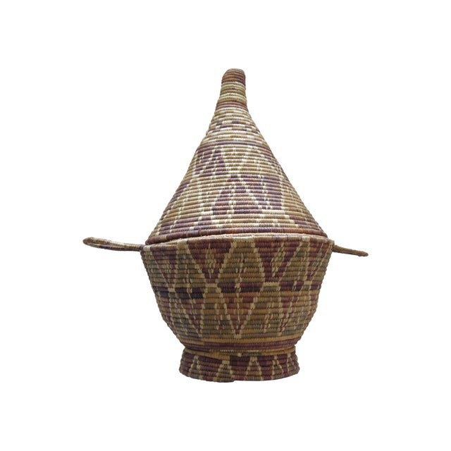 Lidded African Woven Basket - Image 1 of 9