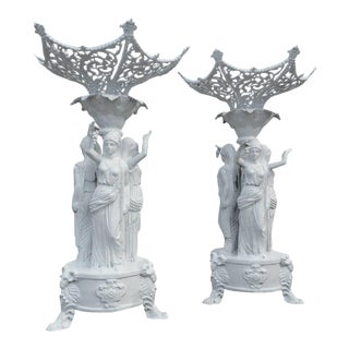 Cast Iron Statues With Women Holding Grapes - a Pair For Sale