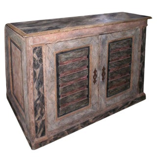 18th Century Italian Faux Marble Painted Credenza From Tuscany For Sale