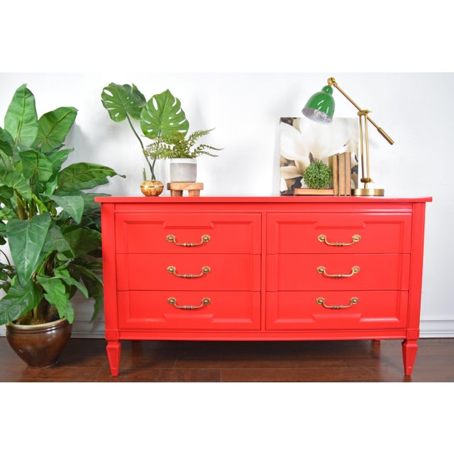 Modern 19th Century Thomasville Positive Red High Gloss Lacquer Dresser For Sale - Image 3 of 13