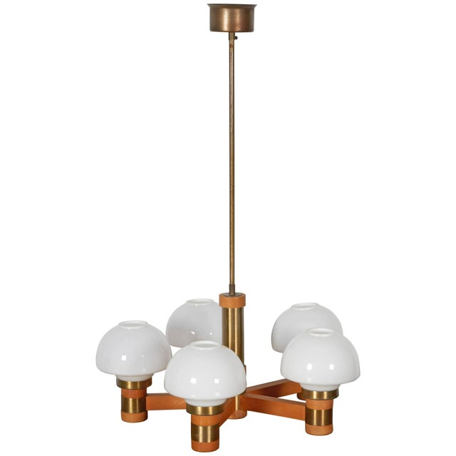 Gold Mid-Century Teak and Brass Five-Light Chandelier For Sale - Image 8 of 8