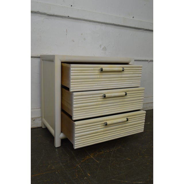 Century Vintage Pair of Faux Bamboo White Painted 3 Drawer Chests Nightstands For Sale In Philadelphia - Image 6 of 13