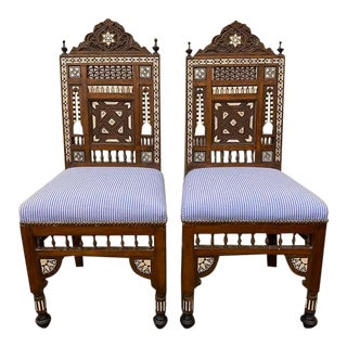 Early 20th Century Anglo Indian Inlaid Wooden Chair-a Pair For Sale