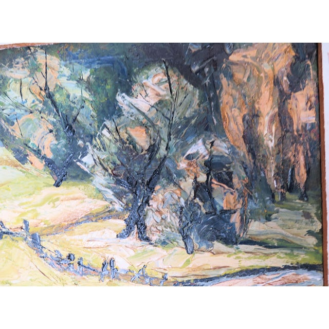 "Abstract Impressionist Oil by Listed Artist "" Jan Hillcourt"" For Sale - Image 3 of 5"