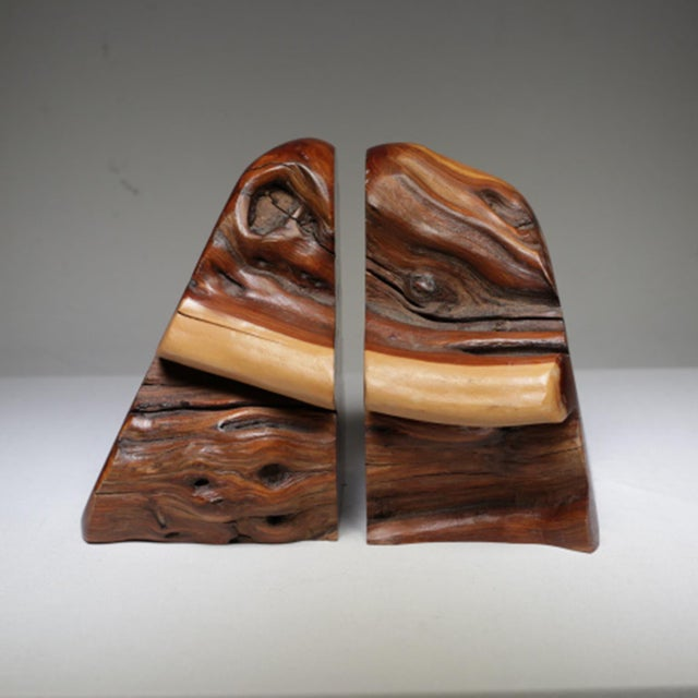 1970s Live Edge Burl Wood Bookends - A Pair - Image 5 of 7