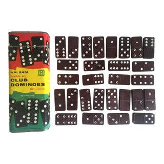 "Vintage Mid-Century 1950's Halsam "" Double 6 Club "" Dominoes Game Box Set For Sale"