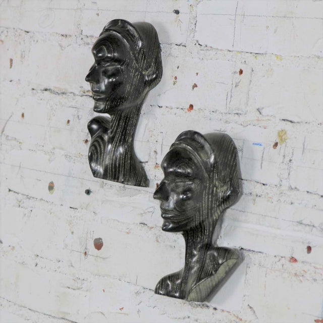 Art Deco Style Ebonized Oak Carved Female Bust Vintage Wall Sculptures, a Pair For Sale - Image 6 of 13