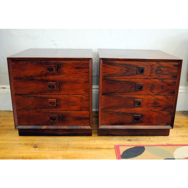 This pair of RW Nightstands is truly amazing. The grain is stunning. Plinth base, 4 drawers, solid Rosewood Pulls, beech...
