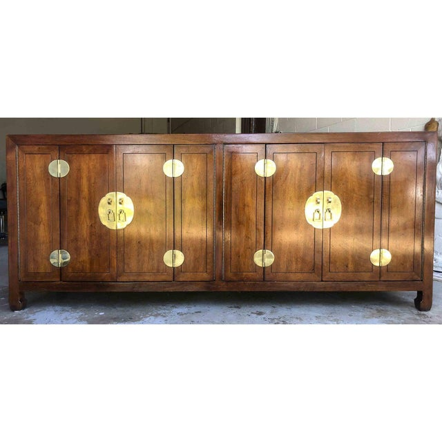 1970s Henredon Asian Chinoiserie Campaign Credenza For Sale - Image 10 of 12