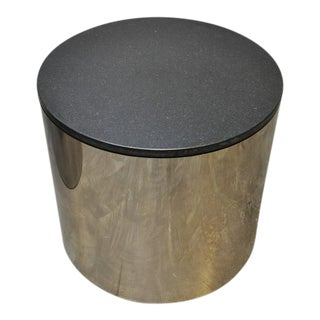 Paul Mayan Stainless and Black Granite Side Tables