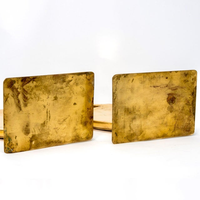 Mid Century Pair Brass Heron or Egret Bookends For Sale In Detroit - Image 6 of 11