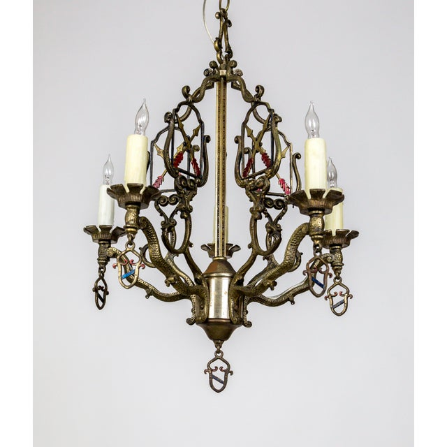 Blue Medieval Revival Coat of Arms and Painted Arrows Chandelier For Sale - Image 8 of 8