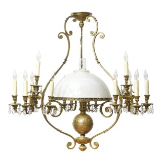 French Oil and candle Brass and Crystal Billiard Light For Sale