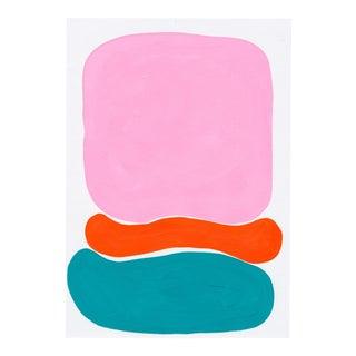 Contemporary Geometric Pink & Blue Acrylic Painting