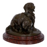 Image of French Antique Bronze Sculpture of Basset Hounds by Emmanuel Fremiet & Barbedienne For Sale