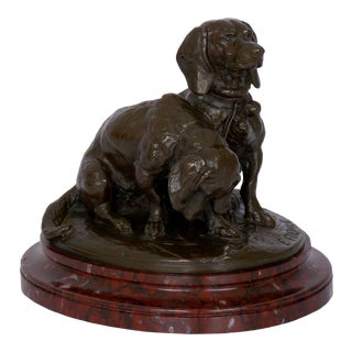 French Antique Bronze Sculpture of Basset Hounds by Emmanuel Fremiet & Barbedienne For Sale