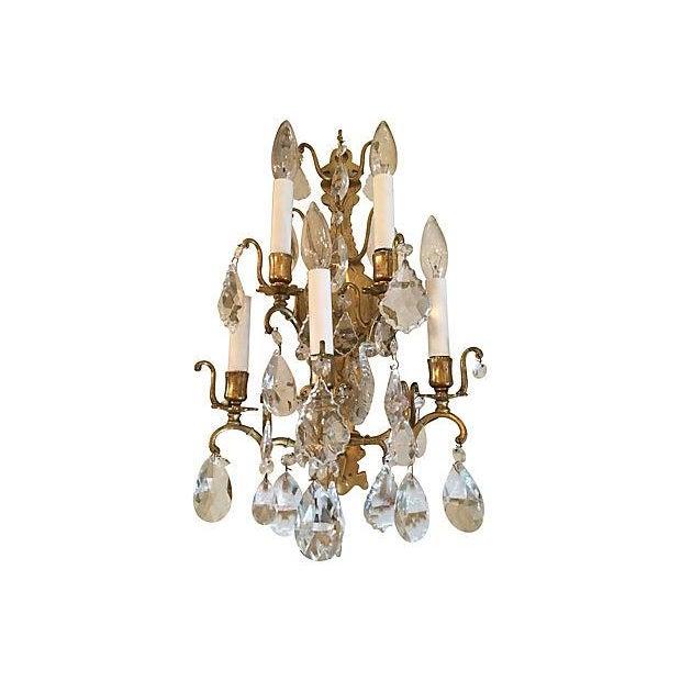 Baroque 1940s Italian Crystal & Glass Sconces - A Pair For Sale - Image 3 of 8