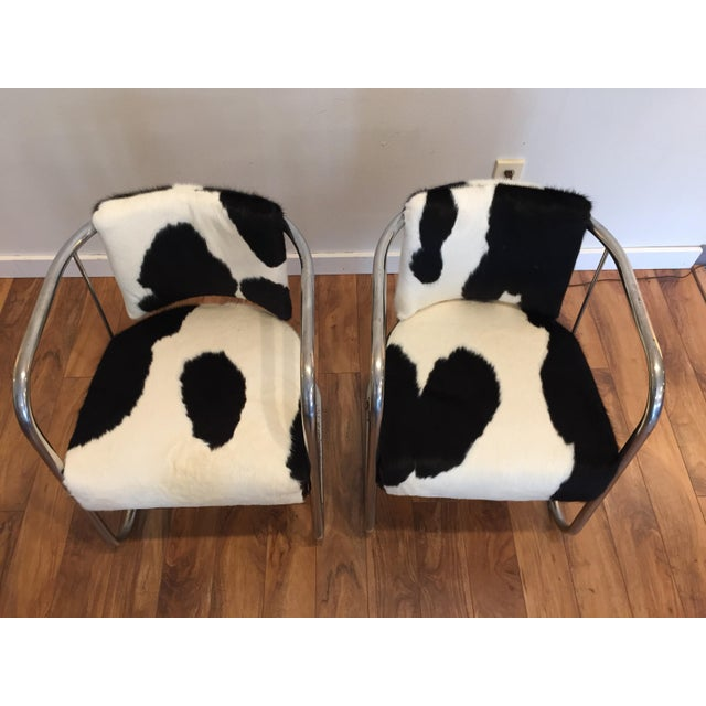Prime Vintage Cantilevered Cowhide Leather Chairs A Pair Alphanode Cool Chair Designs And Ideas Alphanodeonline