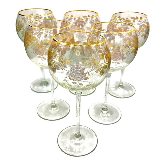 Early 20th Century Antique French Baccarat Gold Encrusted Needle Etch Crystal Hock Glasses- Set of 6 For Sale