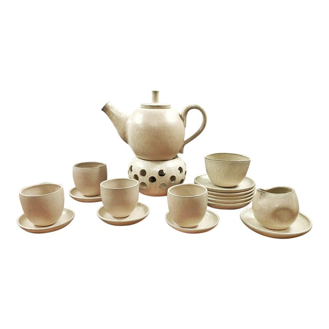 1970s Elisabeth Grosser Studio Pottery Tea Service - Set of 21 For Sale