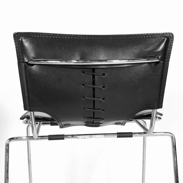 Laced Leather & Chrome Bar Stools by Toyoda Hiroyuki for Icf Group, Italy For Sale In New York - Image 6 of 9