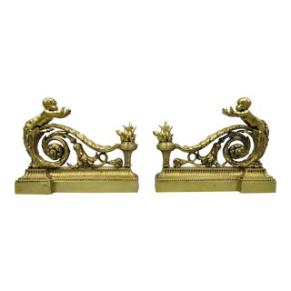 Antique French Louis XV Cherub Angel Chenets Bronze Fireplace Andirons - a Pair For Sale