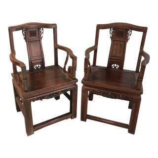Antique Chinese Rosewood Hand Carved Armchairs - a Pair For Sale