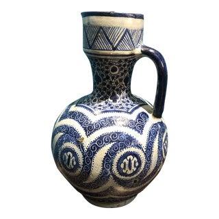 Moroccan Blue and White Ceramic Jug For Sale