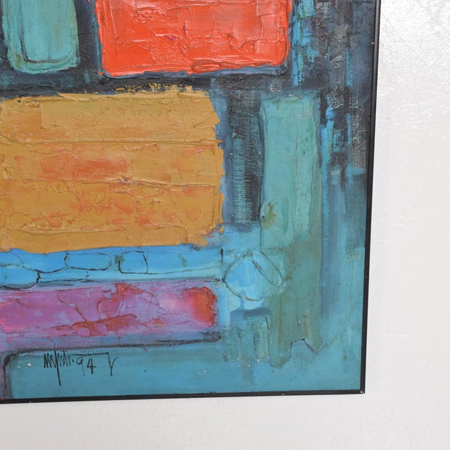 Blue Modern Abstract Oil on Canvas, Signed 1994 For Sale - Image 8 of 11