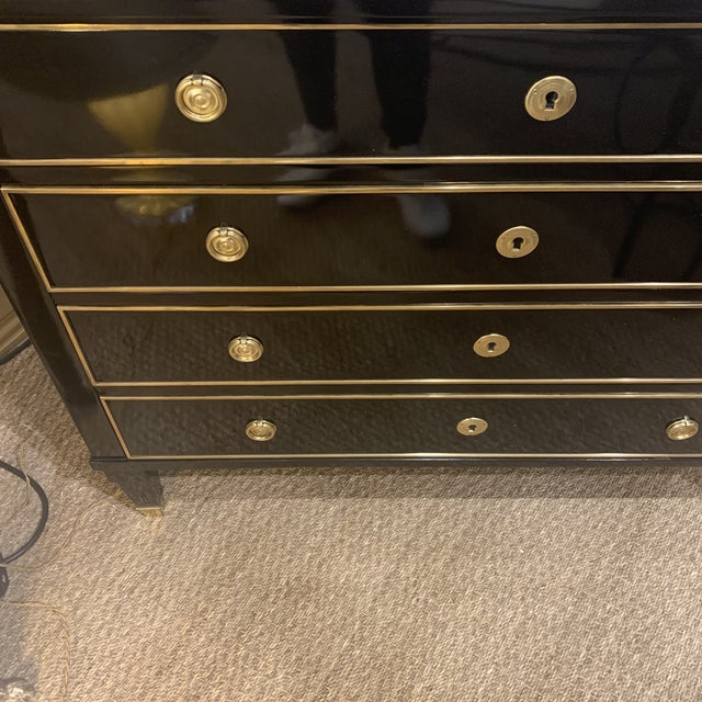 Hollywood Regency Modern History Home Ebonized Chest For Sale - Image 12 of 13