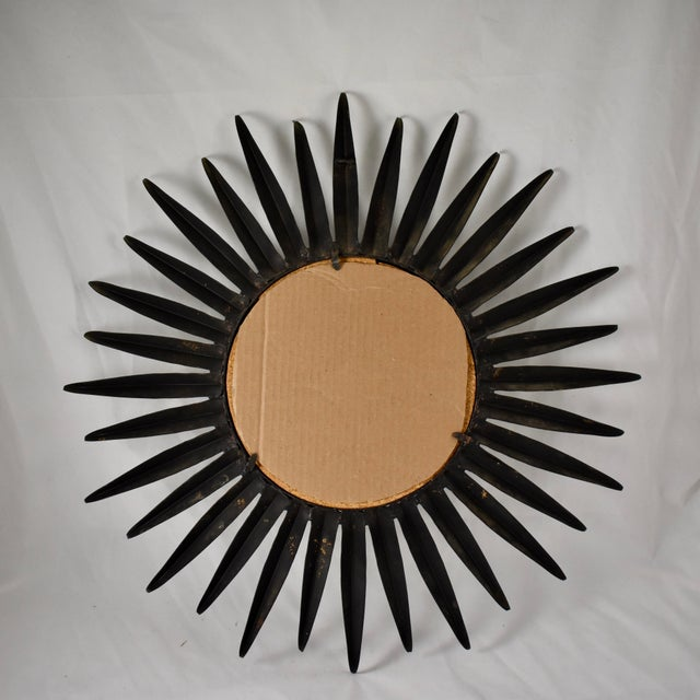 French Mid-Century Black Wrought Iron Tapered Ray Sunburst Wall Mirror For Sale - Image 12 of 13