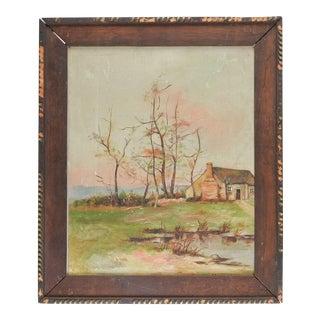 Antique Rustic Farm Landscape Distressed Painting For Sale