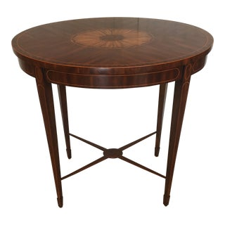 Maintland - Smith Oval Inlay Wood Side Table For Sale