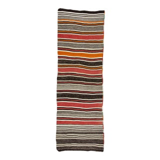 Mid 20th Century Red & Gray Striped Vintage Kilim Rug For Sale