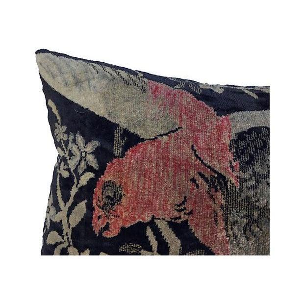 Antique Velvet Floral Textile Pillow W/ Parrot - Image 2 of 6