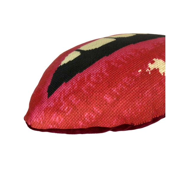 "Large ""Embrasse Moi"" Red Velvet Hot Lips Pillow For Sale - Image 6 of 11"