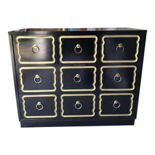 1970s Hollywood Regency Style Black and Gold Commode For Sale