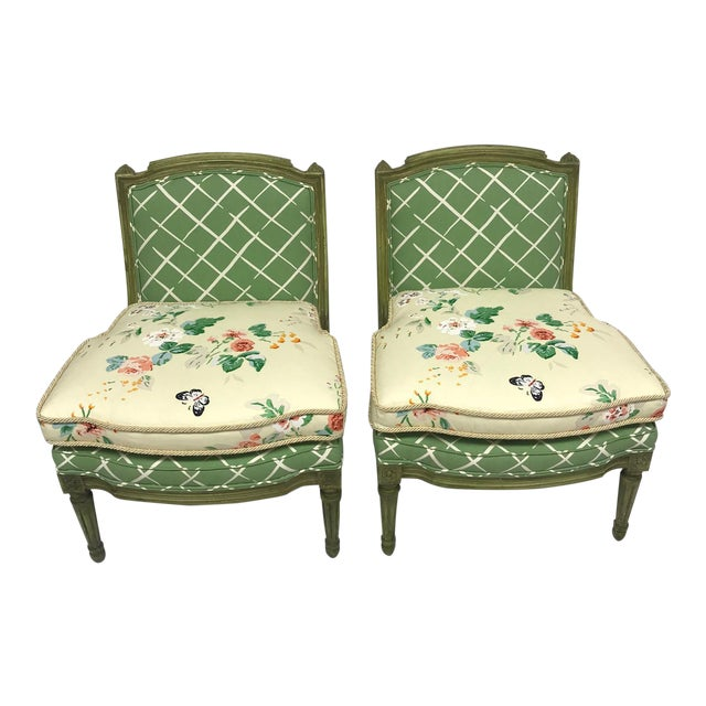 French Style Green-Painted Slipper Chairs - A Pair For Sale