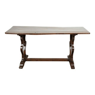 18th Century Italian Walnut Trestle Table For Sale